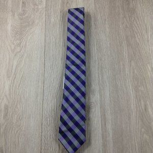 JF J. Ferrar Purple Plaid Narrow Tie